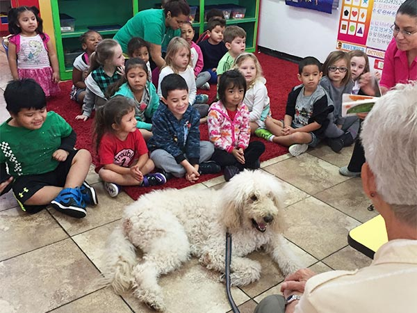 Special guest, therapy dog at EduCare