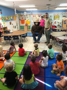 Smokey the Bear teaches forest fire prevention at EduCare Academy