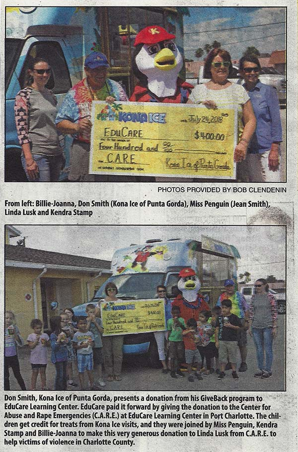 Newspaper cliping showing EduCare and Kona Ice presenting a giant check to C A R E